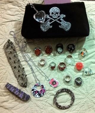 Rock Jewelry & Skull Make-Up Bag
