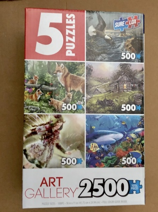 BNIB Five Separate 500 Piece Puzzles. 2500 Pieces Total. 1 Puzzle has been Opened. All Pieces Here.