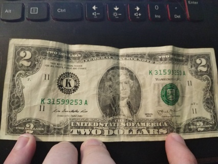 $2 Two Dollar Bill Declaration of Independence picture on one side