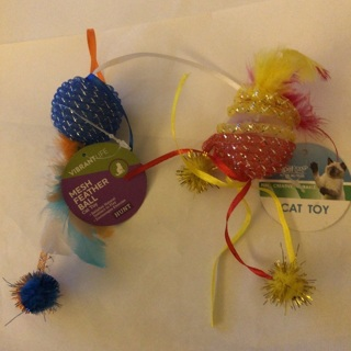 Brand New: Two Cat and Kitten Toys With Bells Mesh and Feathers!