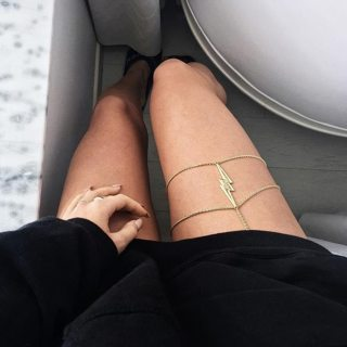 Punk Lightning Chain Double Layer Gold Silver Leather Thigh Chain Women Charm Beach Clothing Jewelry