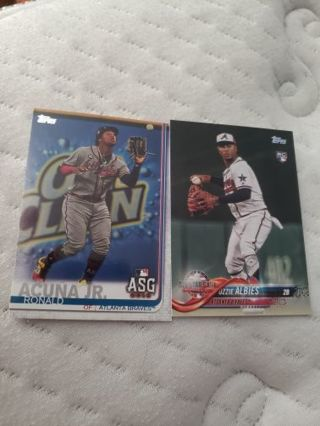 Ronald Acuna jr and Ozzie Albies Rookie card