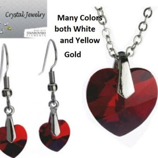 Jewerly set red crystal necklace earring 2 pc NWT
