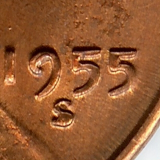 DOUBLE DIE   BU RED 1955-S Lincoln Wheat Cent
