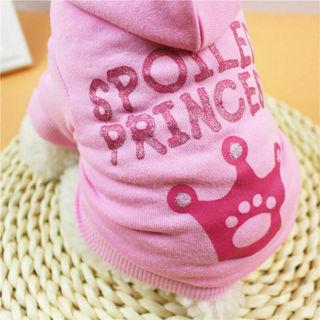 Girl Princess T Shirt Pet Hoodies Pink Crown Printed Clothes