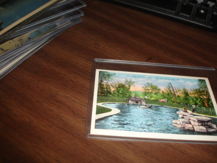 postcard,sea lion pool in forest park,st louis zoo,mo,1936,slogan cancel,haworth ,nj.