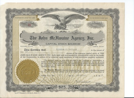 John McIlwaine Agency stock certificate 1919 Two revenue stamps on back