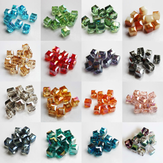20PCs 8mm Faceted Square Cube Cut Glass Crystal Charm Finding Loose Spacer Beads