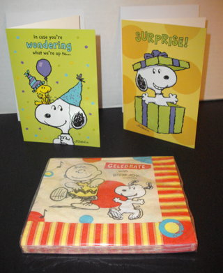 New SNOOPY DAYSPRING CHRISTIAN BIRTHDAY CARDS W Scriptures Snoopy PartyNapkins Celebrate