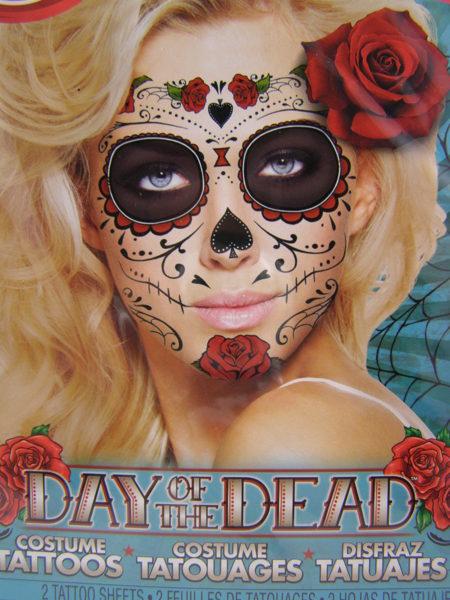 Free Temporary Tattoo Halloween Costume Makeup Sugar Skull Day Of