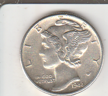 High Grade 1944-D Silver Mercury Dime