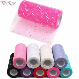 FENGRISE Fabric Patchwork 25 yards Tulle Roll Sewing Accessories Textile Sequin Tutu Crafts