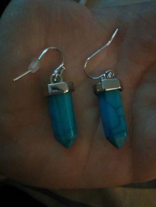 Turquoise stone dangle earrings  Blue stud earrings
