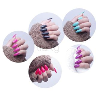 24Pc Artificial Sharp Nail Art Full Cover Oval Stiletto False Fake Nails Tip DIY