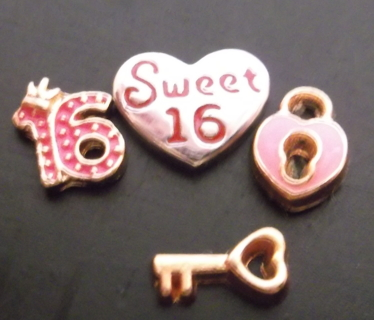 SWEET 16 JUST BEEN KISSED! 4 FLOATING CHARM LOT!