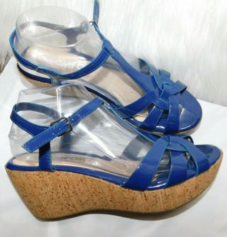 Rogue Blue Wedge Sandals Womens 8.5