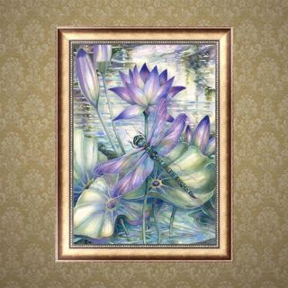 DIY 5D Diamond Painting Dragonfly Lotus Embroidery Cross Craft Stitch Home Decor