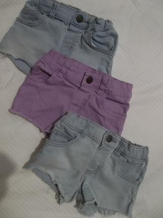 Girls Size 3T Cutoff Shorts 3 Pair
