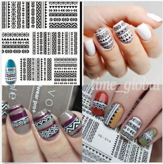 1Sheet Tribal Black Lace Images Nail Art Water Decals Transfer Stickers DIY