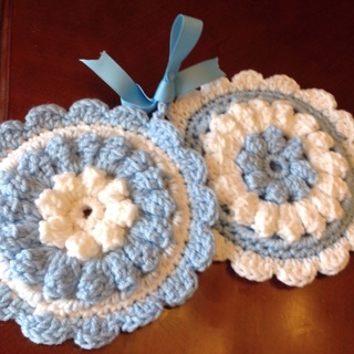 Spring Collection. Two Hand Crochet Puff Round Double Sided Potholders . Blue/White.
