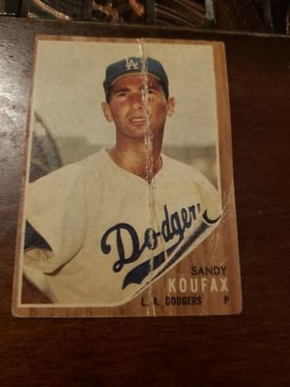 1962 Sandy Koufax Los Angeles Dodgers vintage baseball card POOR CONDITION creases
