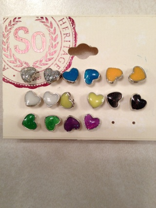 So heritage 8 multi colored heart earrings $16.00 retail value