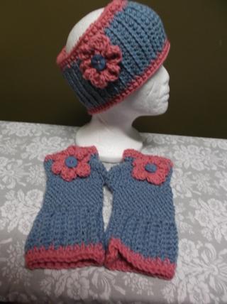 Cute Handmade Blue/Pink Crocheted / Knitted Ear Warmers / Headband And Fingerless Gloves