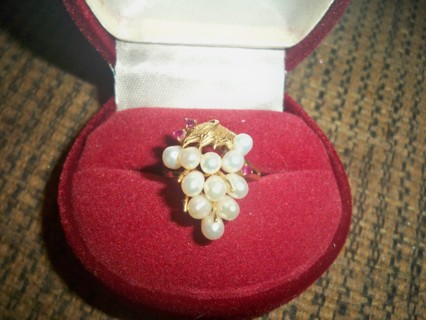 14K VINTAGE PEARL AND RUBY RING