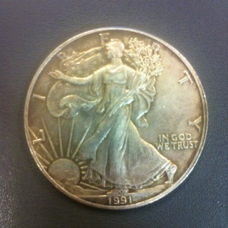 1 Troy Ounce .999 Silver Eagle 1991