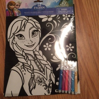 Frozen velvet coloring sheet with markers