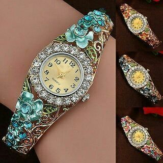 Women's Bracelet Watch Beautiful Flower Band Hollow Out Crystal Quartz Popular
