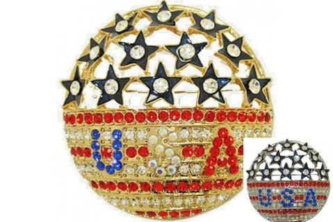 Pin Swarovski 100 crystals USA FLAG YOUR COLOR NWT