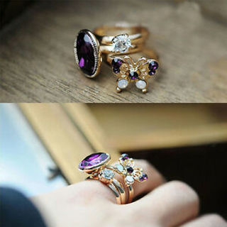 Shiny Stack Knuckle Cute Gift Set Band Midi Finger Ring 3pcs/set