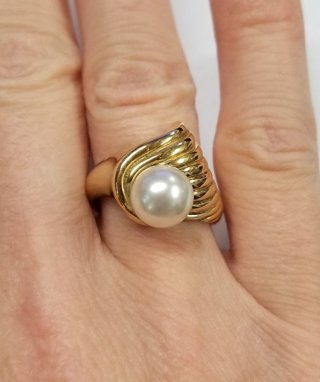 14K YELLOW GOLD ROUND PEARL 7mm SOLITAIRE RING