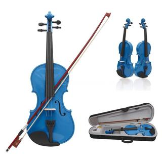 4/4 Full Size Violin Fiddle Basswood+Case+Arbor Bow for Over 13 Dark Blue