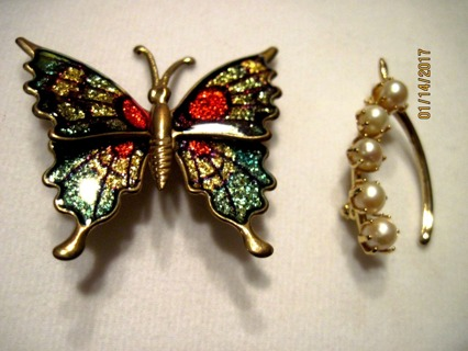 Beautiful Vintage Butterfly and Pear Wishbone Pins