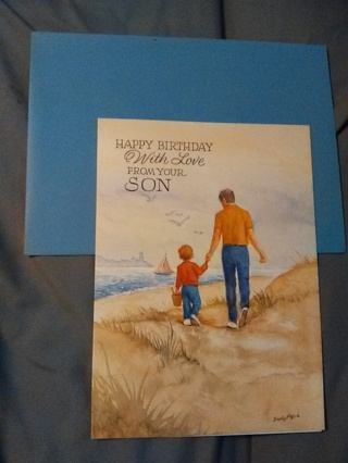 Happy Birthday to Dad -- With Love From Your Son Card with Envelope -- NEW!!