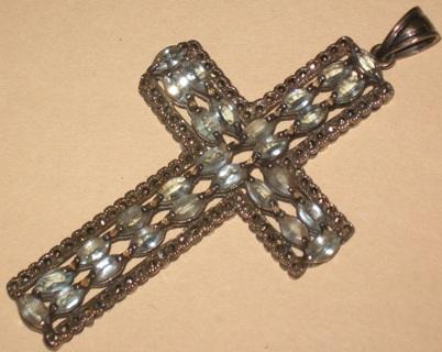 sterling topaz marcasite cross