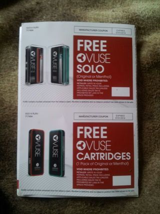 2 Coupons for FREE 1 Vuse Solo & 1 Vuse Cartridges (original or menthol)