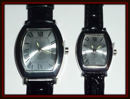 Beautiful Brand NEW Pair of Men's & Ladies' Matching Analog QUARTZ Black LEATHER Band Watches!