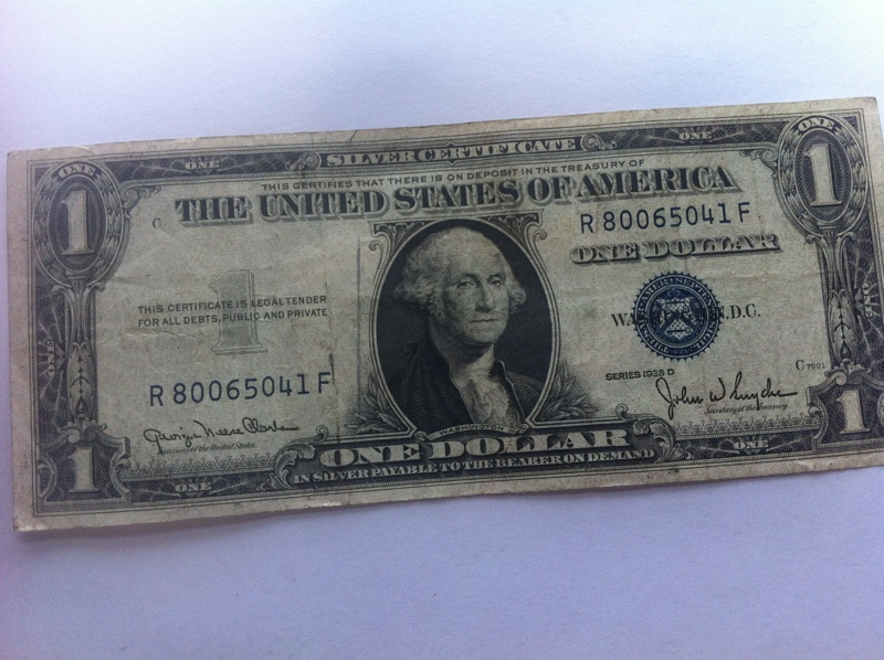 Free 1935 D 1 Silver Certificate One Dollar Bill 1 Face Value