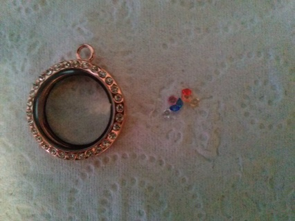 Rose Gold Tone Floating Charm & 7 Stones