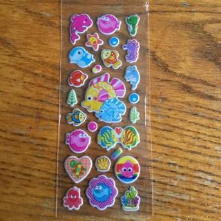 Puffy fish stickers