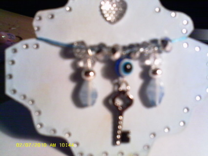 OOAK Handmade Chipboard Embellishments For Cards, Scrap Booking,Etc. (Blue on Blue with Key)