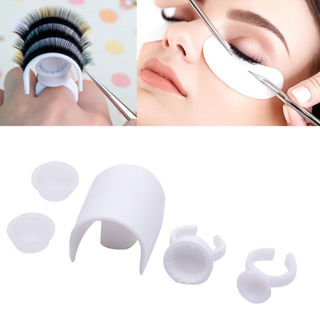 3 Set x 5pcs Plastic Eyelash Extension Glue Ring Adhesive Eyelash Pallet Holder Kit Tool