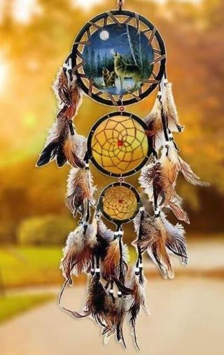 """NEW 29.5"""" Magestic Wolf Art Pattern Ornament Dream Catcher Feathers Nature Wolves FREE SHIPPING"""