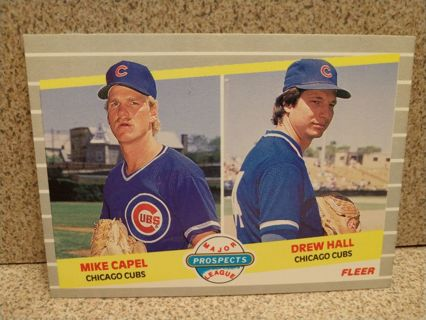 1989 FLEER MAJOR LEAGUE PROSPECTS MIKE CAPEL/ DREW HALL # 643 CHICAGO CUBS