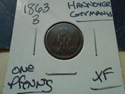 XF 1863-B GERMANY ONE PFENNIG XF CONDITION!