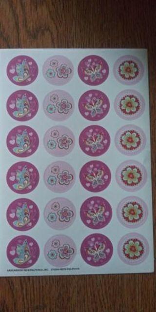 Butterflies & Flower Stickers - Qty 24 - New