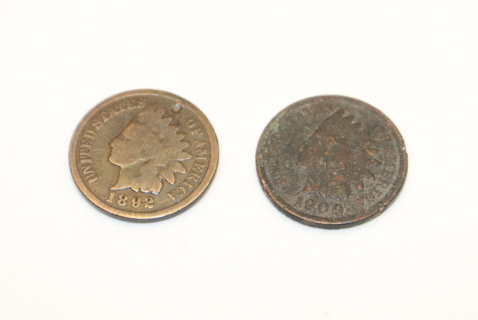 1892 and 1900 Indian head pennies.